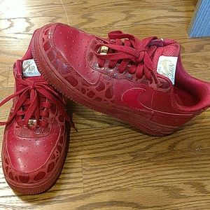 Womens red nike Air Force one sneakers